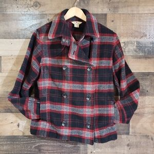 Woolrich red and black plaid double breasted wool
